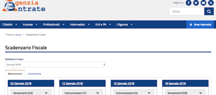 Attualit miliarium for Scadenzario fiscale 2017
